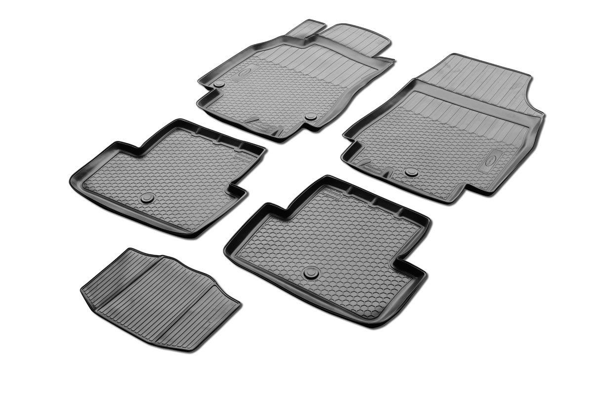Набор автомобильных ковриков Rival, для Renault Fluence 2010-, в салон, с перемычкой, 4 шт0014704001Прочные и долговечные коврики Rival, изготовленные из высококачественного и экологичного сырья, полностью повторяют геометрию салона вашего автомобиля. - Надежная система крепления, позволяющая закрепить коврик на штатные элементы фиксации, в результате чего отсутствует эффект скольжения по салону автомобиля. - Высокая стойкость поверхности к стиранию. - Специализированный рисунок и высокий борт, препятствующие распространению грязи и жидкости по поверхности ковра. - Перемычка задних ковров в комплекте предотвращает загрязнение тоннеля карданного вала. - Коврики произведены из первичных материалов, в результате чего отсутствует неприятный запах в салоне автомобиля. - Высокая эластичность материала позволяет беспрепятственно эксплуатировать коврики при температуре от -45°C до +45°C.