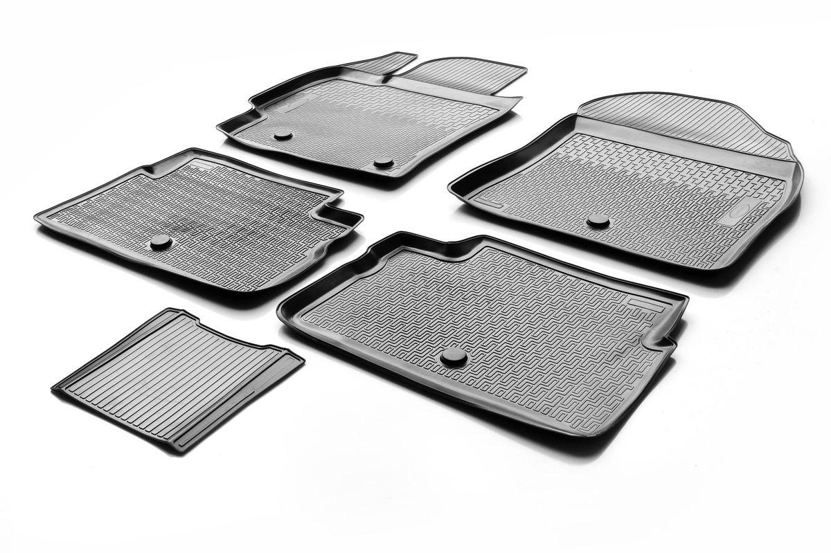 Набор автомобильных ковриков Rival, для Toyota Corolla 2013-, в салон, с перемычкой, 4 шт0015702001Прочные и долговечные коврики Rival, изготовленные из высококачественного и экологичного сырья, полностью повторяют геометрию салона вашего автомобиля. - Надежная система крепления, позволяющая закрепить коврик на штатные элементы фиксации, в результате чего отсутствует эффект скольжения по салону автомобиля. - Высокая стойкость поверхности к стиранию. - Специализированный рисунок и высокий борт, препятствующие распространению грязи и жидкости по поверхности ковра. - Перемычка задних ковров в комплекте предотвращает загрязнение тоннеля карданного вала. - Коврики произведены из первичных материалов, в результате чего отсутствует неприятный запах в салоне автомобиля. - Высокая эластичность материала позволяет беспрепятственно эксплуатировать коврики при температуре от -45°C до +45°C.