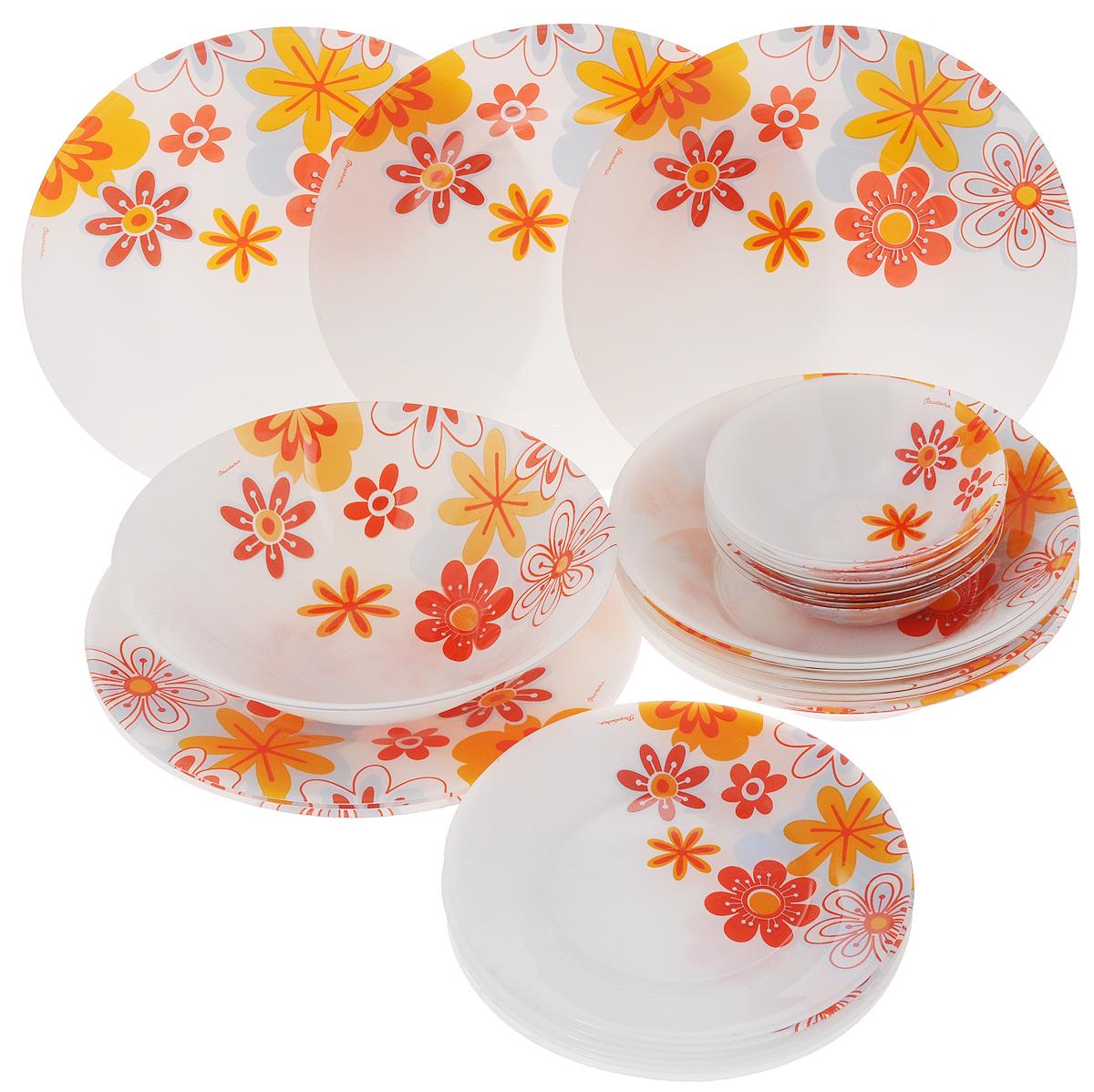 Набор столовой посуды Pasabahce Workshop Summer, 25 предметов95665BDСтоловый набор Pasabahce Workshop Summer состоит из шести суповых тарелок, шести десертных тарелок, шести обеденных тарелок и семи салатников. Предметы набора выполнены из натрий-кальций-силикатного стекла, благодаря чему посуда будет использоваться очень долго, при этом сохраняя свой внешний вид. Предметы набора имеют повышенную термостойкость. Набор создаст отличное настроение во время обеда, будет уместен на любой кухне и понравится каждой хозяйке. Красочное оформление предметов набора придает ему оригинальность и торжественность. Практичный и современный дизайн делает набор довольно простым и удобным в эксплуатации. Предметы набора можно мыть в посудомоечной машине. Диаметр суповой тарелки: 22 см. Высота стенок суповой тарелки: 5 см. Диаметр обеденной тарелки: 26 см. Высота обеденной тарелки: 2 см. Диаметр десертной тарелки: 20 см. Высота десертной тарелки: 1,5 см. Диаметр большого салатника:...