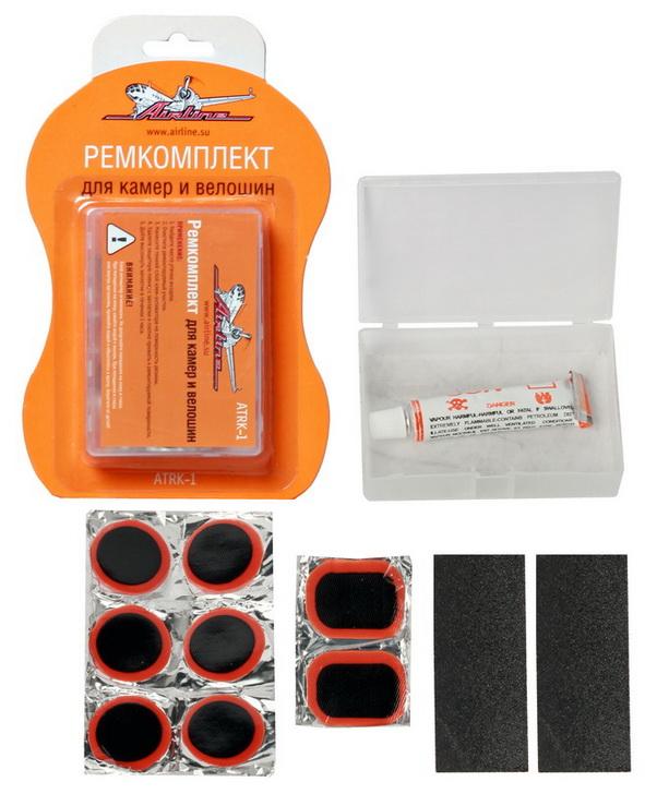 Ремкомплект Airline для камер и велошин, 12 предметовATRK-1Ремкомплект Airline предназначен для быстрого ремонта автомобильных и велосипедных камер и велошин. В набор входит: - заплатки круглые, 6 шт, - заплатки прямоугольные, 2 шт, - клей-активатор, - наждачная бумага, 2 шт, - пластиковый кейс для хранения комплекта.