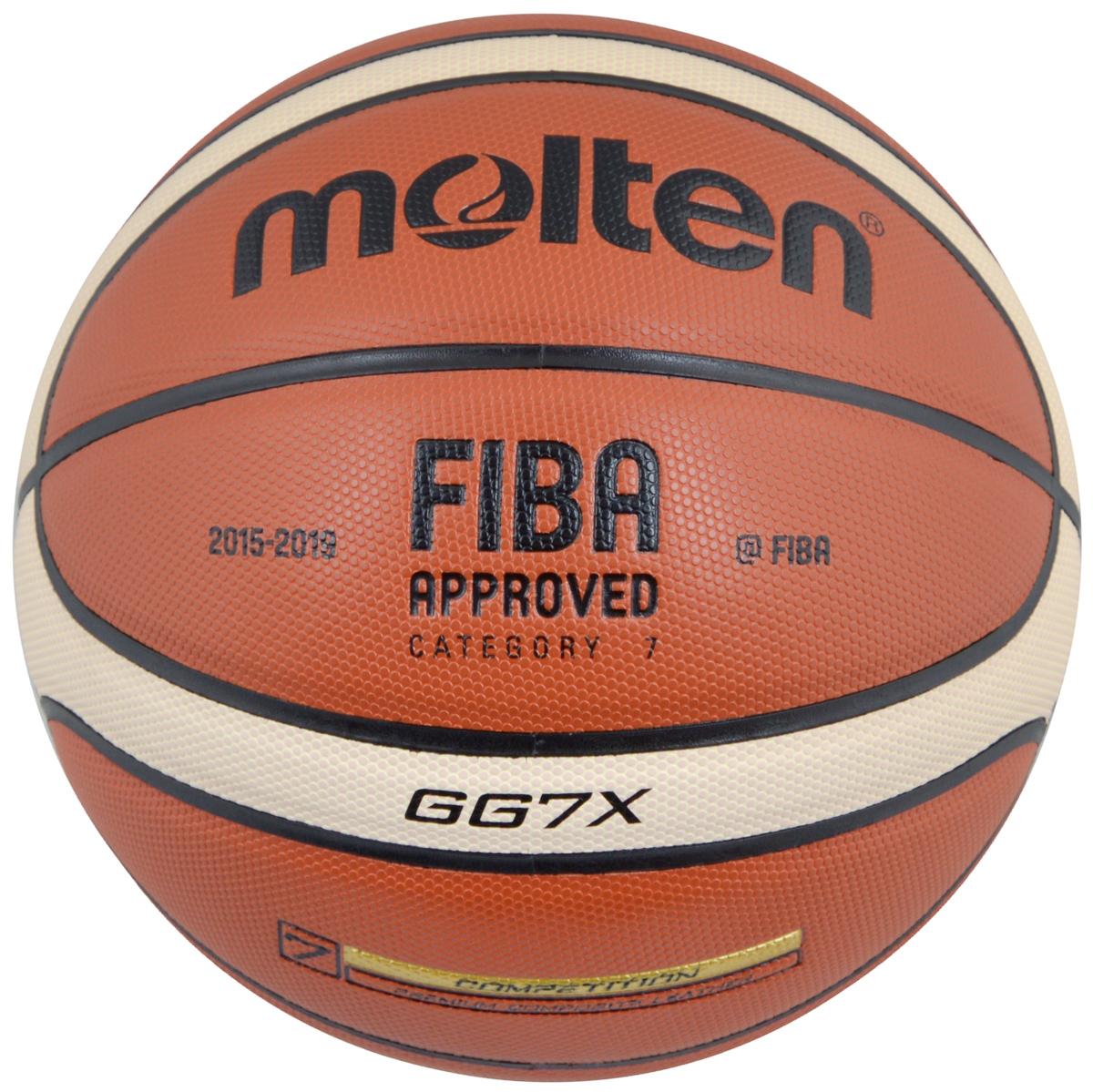 """Мяч баскетбольный """"Molten"""", цвет: кирпичный, черный, бежевый. Размер 7. BGG7X"""