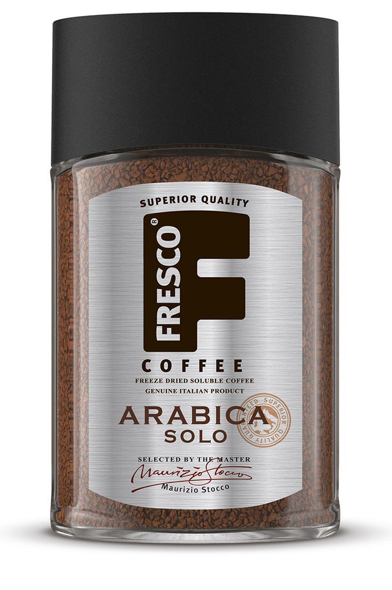 Fresco Arabica Solo кофе растворимый, 100 г8051070320514Крепкий, ароматный, насыщенный кофе Fresco Arabica Solo приготовлен из отобранных мастером Ирга Чеффе зерен, выращенных на плантациях Эфиопии. Во вкусе присутствует приятная легкая и ярко выраженная горчинка. Отличный кофе для пробуждения.