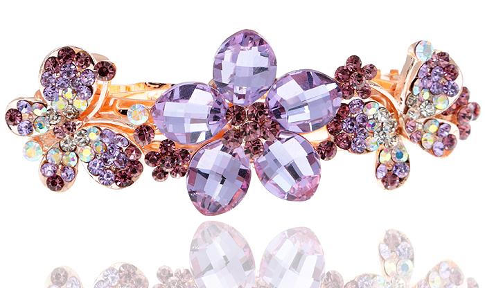 Заколка для волос Весеннее утро от D.Mari. Кристаллы Aurora Borealis, кристаллы аметистового цвета, бижутерный сплав золотого тона. ГонконгКСС1Заколка для волос Весеннее утро от D.Mari. Кристаллы Aurora Borealis, кристаллы аметистового цвета, бижутерный сплав золотого тона. Гонконг. Размер - 9 х 3 см.
