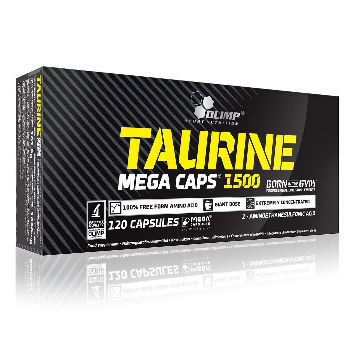OLIMP Таурин Мега Капс 120 капсO24351Olimp Taurine Mega Caps это формула, дополняющая рацион питания таурином - аминокислотой, необходимой организму для роста и восстановления после физических нагрузок. Улучшает азотный баланс, подавляет катаболизм, препятствует накоплению жира, увеличивает выносливость, способствует внутримышечному транспорту глюкозы и креатина. Olimp Taurine Mega Caps с помощью технологией MEGA CAPS ® содержит 1500 мг чистого таурина в одной капсуле Предназначен для людей с высокой физической активностью, в том числе - спортсменов. Рекомендации по применению: Принимайте по 1-2 капсуле в день, в соответствии с интенсивностью физической нагрузки. Хранить в недоступном для детей месте. Не превышайте рекомендованную суточную дозировку. Пищевые добавки не должны заменять полноценное сбалансированное питание.