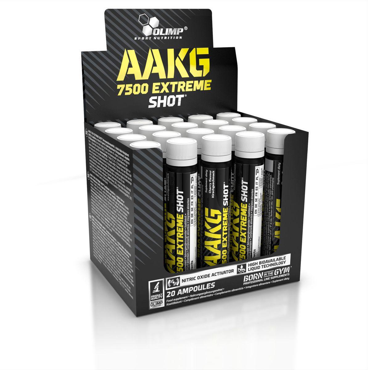 OLIMP ААКГ Икстрим Шот, 20 х 25 мл, вишняO25235Впервые на рынке, высокая дозировка аргинин альфа-кетоглутарата - 7550 мг в одной ампуле. AAKG 7500 Extreme Shot идеально подходит для стимуляции сил, рост массы и жесткости. AAKG Extreme в виде легко усваивающейся формы - аргинин альфа-кетоглутарата. Аргинин образует в организме оксид азот(NO). Он важен для построения рельефного тела, развитие функциональных возможностей и сохранения сексуальной деятельности. Аргинин обеспечивает достаточный приток крови, кислорода и питательных веществ к мышечной ткани, а также способствует росту мышц, сжиганию жировой ткани и увеличению эрекции. Клинические исследования доказали, что прием 2г аргинина в течение 5 недель, приводит к значительному (в сравнении с контрольной группой) увеличению силы и росту мышечной массы, а также снижение жиров и продуктов белкового распада. Рекомендации по применению: Пейте по пол ампулы перед тренировкой и после нее.