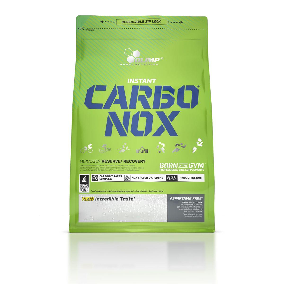 OLIMP Энергетический напиток Carbo Nox 1кг, лимонO27611Olimp Carbo Nox - это напиток, способный быстро поставить энергию спортсмену! Он содержит углеводы различной длины цепи, что способствует равномерному усвоению и обеспечивает организм топливом на длительный промежуток времени. Olimp Carbo Nox не просто энергетик. Он несет в себе именно те минералы, которые атлет теряет с потом во время тренировок. Olimp Carbo Nox также содержит витамины, особенно важные при интенсивных нагрузках. Рекомендации по применению: Пейте 2 - 4 порции до и во время тренировки для обеспечения организма энергией и влагой, после тренировки для восстановления энергетических запасов. Рекомендации по приготовлению: 50 г - 90 единиц измерения мерной ложки или 5 без горки столовых ложек на 500 мл воды.
