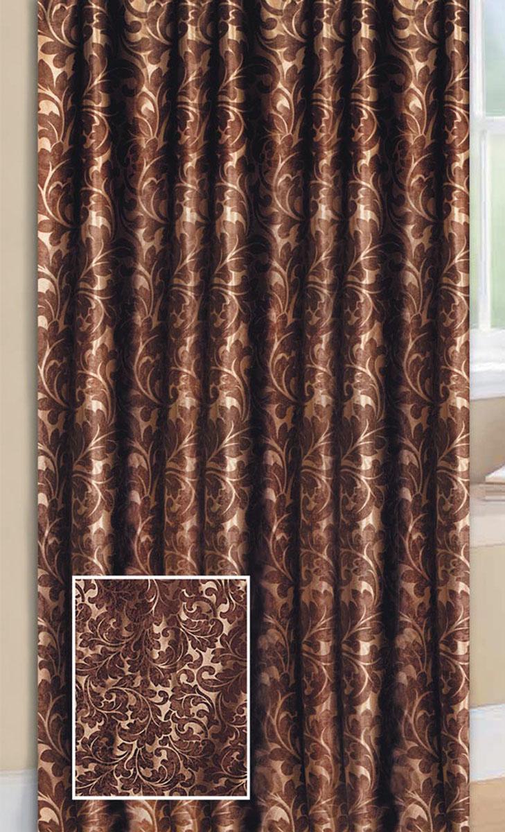 Штора Блэкаут, на ленте, цвет: шоколадный, высота 270 см77083Светонепроницаемая штора с классическим рисунком вензель впишется в любой интерьер придаст покой и уют в солнечный день. Тип крепления- широкая шторная лента позволит использовать любой карниз
