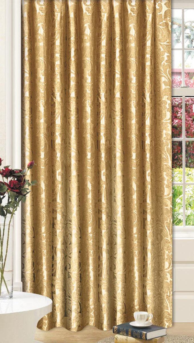 Штора Вензель, на ленте, цвет: золотой, высота 270 см77086Штора с классическим рисунком вензель впишется в любой интерьер придаст покой и уют в солнечный день. Тип крепления- широкая шторная лента позволит использовать любой карниз
