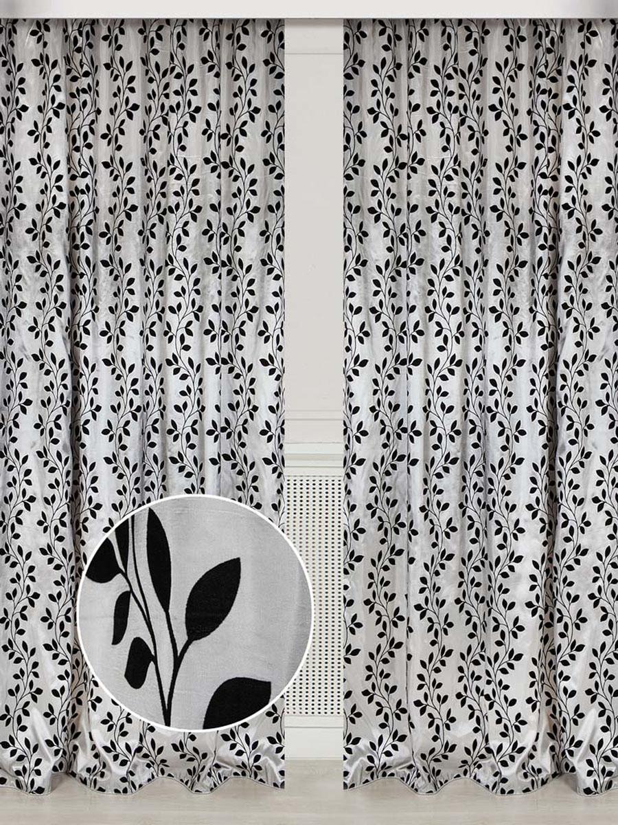 Комплект штор Дубрава, на ленте, цвет: серебристый, высота 250 см78544Ткань тафта с блеском, рисунок выполнен в технике флок. Стирка не более 30 градусов.