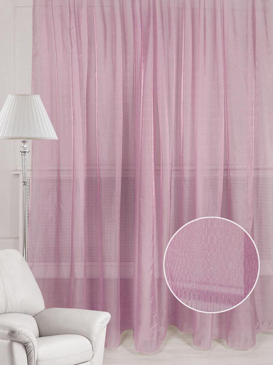 Тюль Кристалл, на ленте, цвет: розовый, высота 250 см. 7855878558Тюль из органзы с легким блеском. Стирка не более 30 градусов.