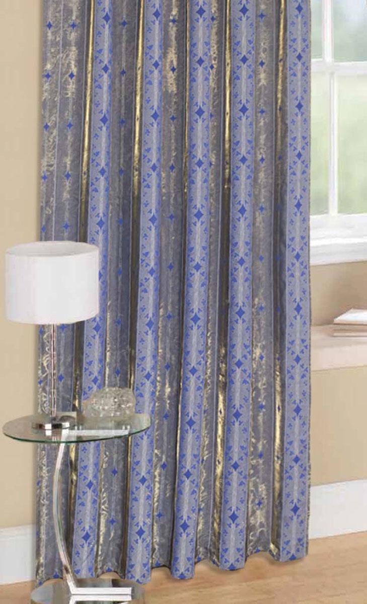 Комплект штор Стиль, на ленте, цвет: синий, высота 270 см78957Легкая портьерная ткань с блеском. Стирка не более 30 градусов.