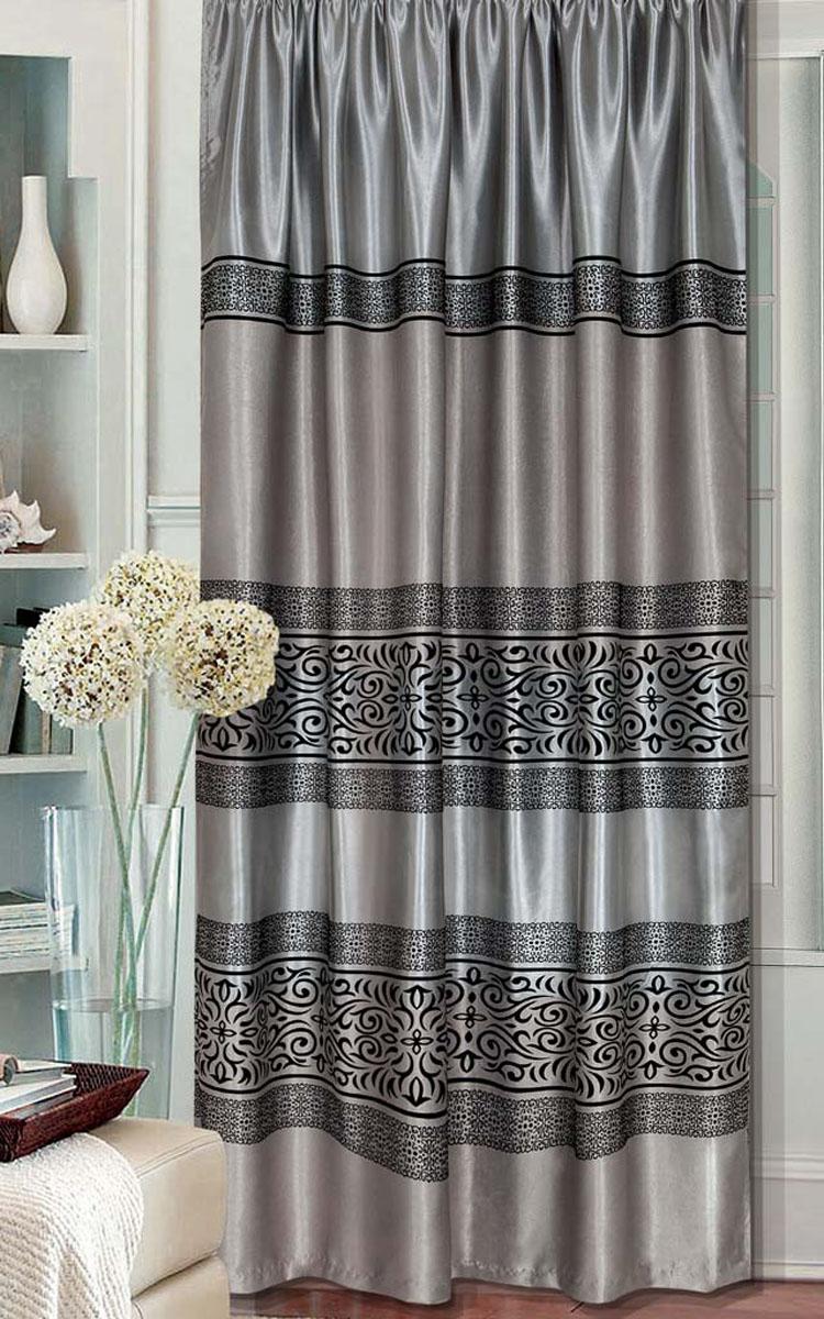 Комплект штор Этюд, на ленте, цвет: серый, высота 280 см79244Легкая портьерная ткань с узорами. Стирка не более 30 градусов.