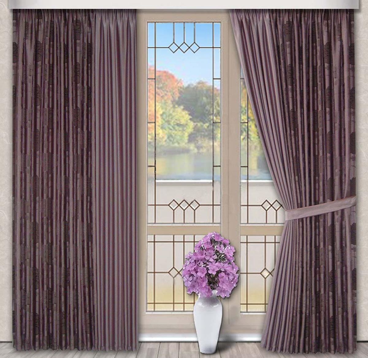 Комплект штор Роза, на ленте, цвет: сиреневый, высота 270 см79706Портьерная ткань с жаккардовым рисунком по краю и в центре однотонная. Стирка не более 30 градусов.