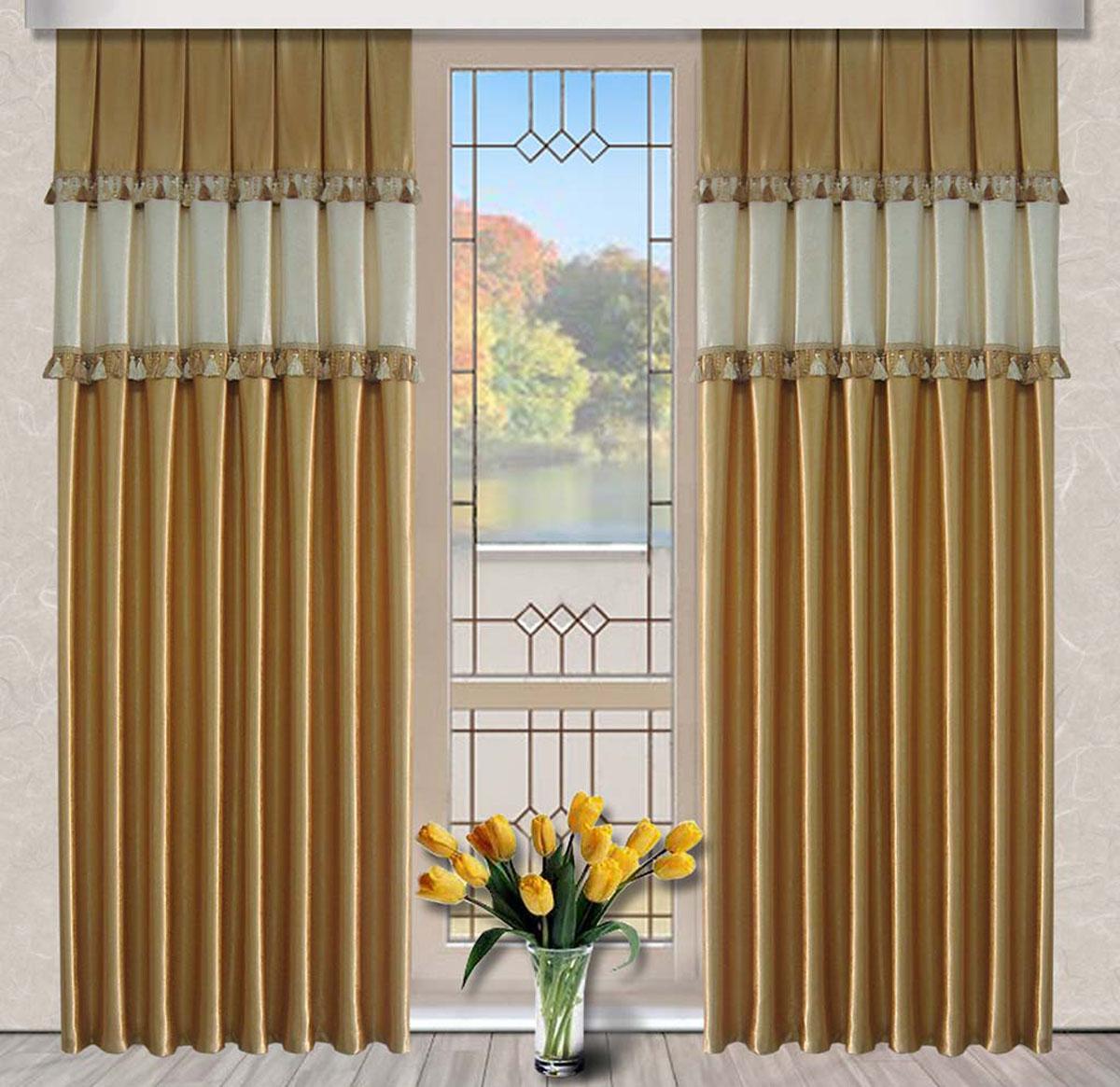 Комплект штор Винтаж, на ленте, цвет: золотой, кремовый, высота 270 см79717Портьеры из плотной ткани украшенные бахромой.Стирка не более 30 градусов