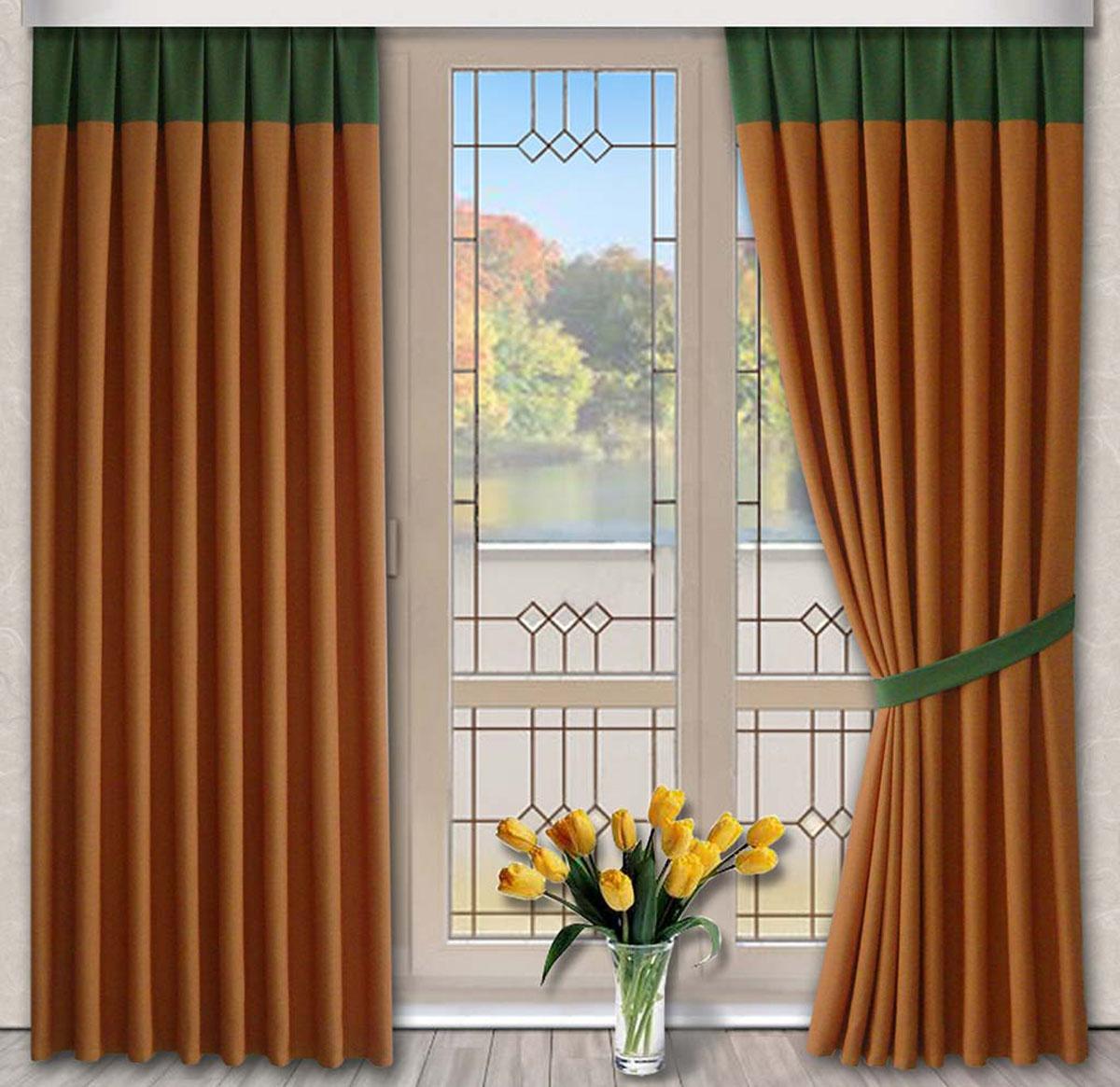 Комплект штор Кантри, на ленте, цвет: оранжевый, зеленый, высота 270 см79719Портьеры из плотной ткани под лён. Стирка не более 30 градусов.
