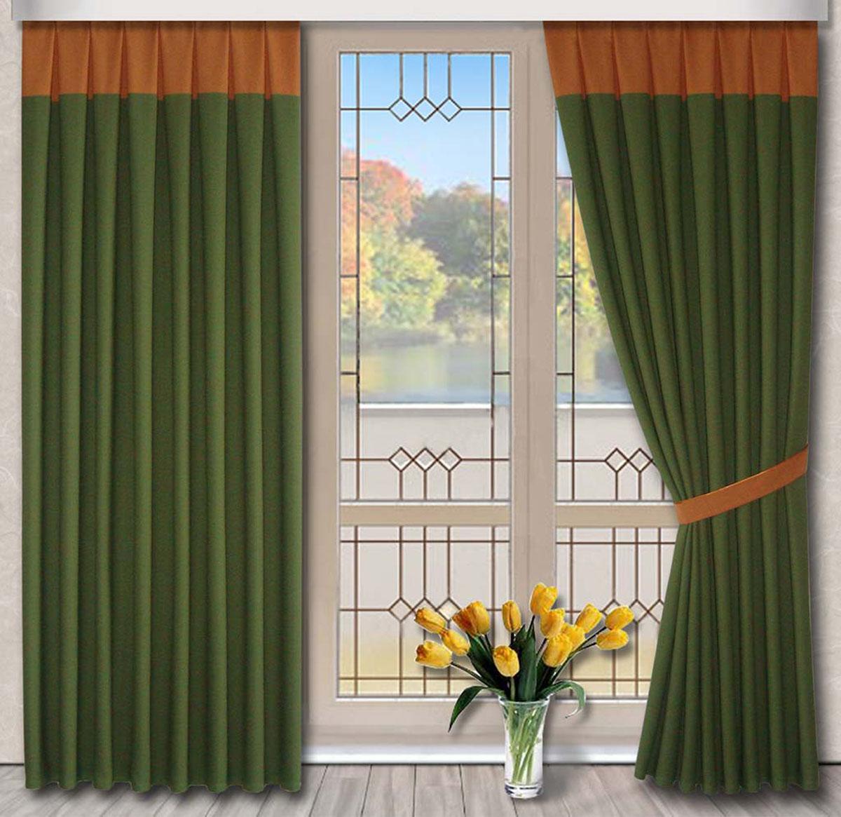 Комплект штор Кантри, на ленте, цвет: зеленый, оранжевый, высота 270 см79722Портьеры из плотной ткани под лён. Стирка не более 30 градусов.