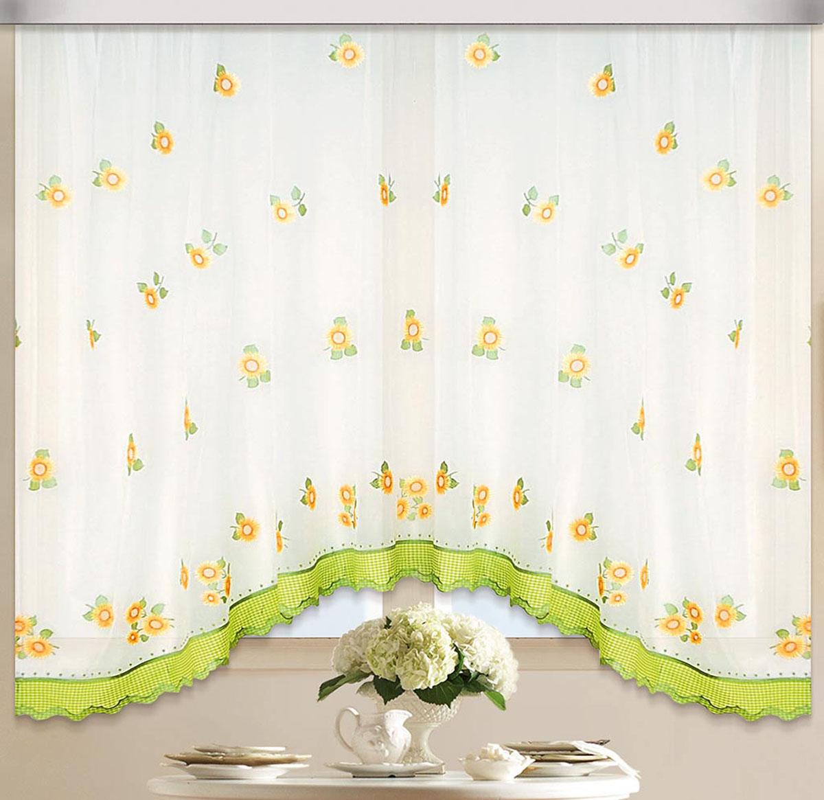 Штора Арка. Солнышко-подсолнышко, на ленте, цвет: белый, зеленый, желтый, высота 170 см80113Вуалевое полотно с вышивкой. Стирка не более 30 градусов