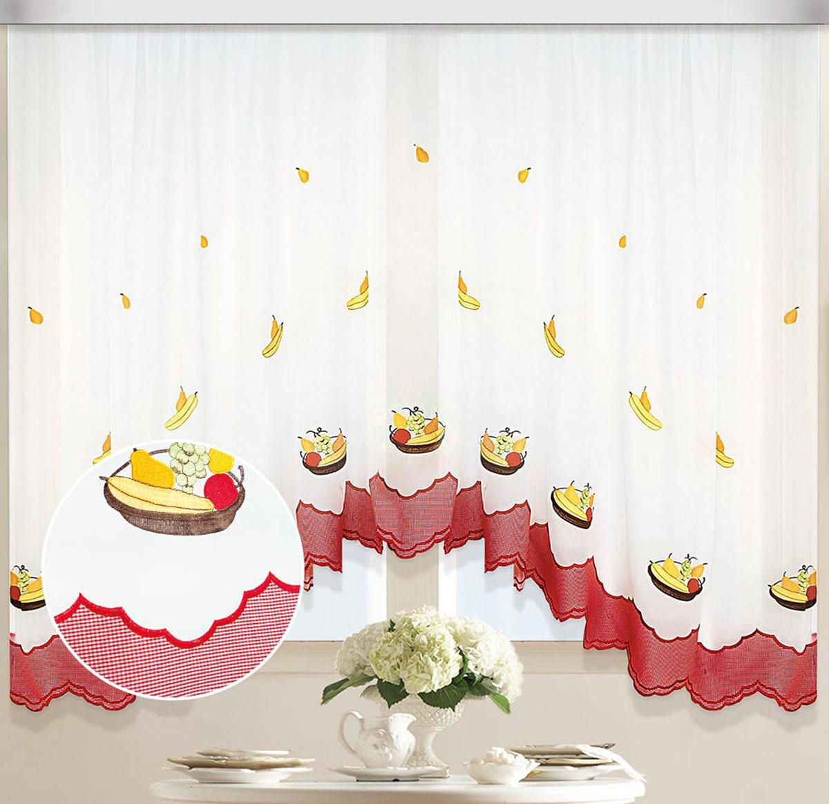 Штора Арка. Фруктовая корзинка, на ленте, цвет: белый, желтый , высота 170 см80114Вуалевое полотно с вышивкой. Стирка не более 30 градусов