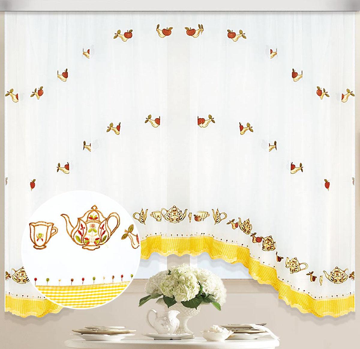Штора Арка. Вкус, на ленте, цвет: белый, желтый , высота 170 см80115Вуалевое полотно с вышивкой. Стирка не более 30 градусов
