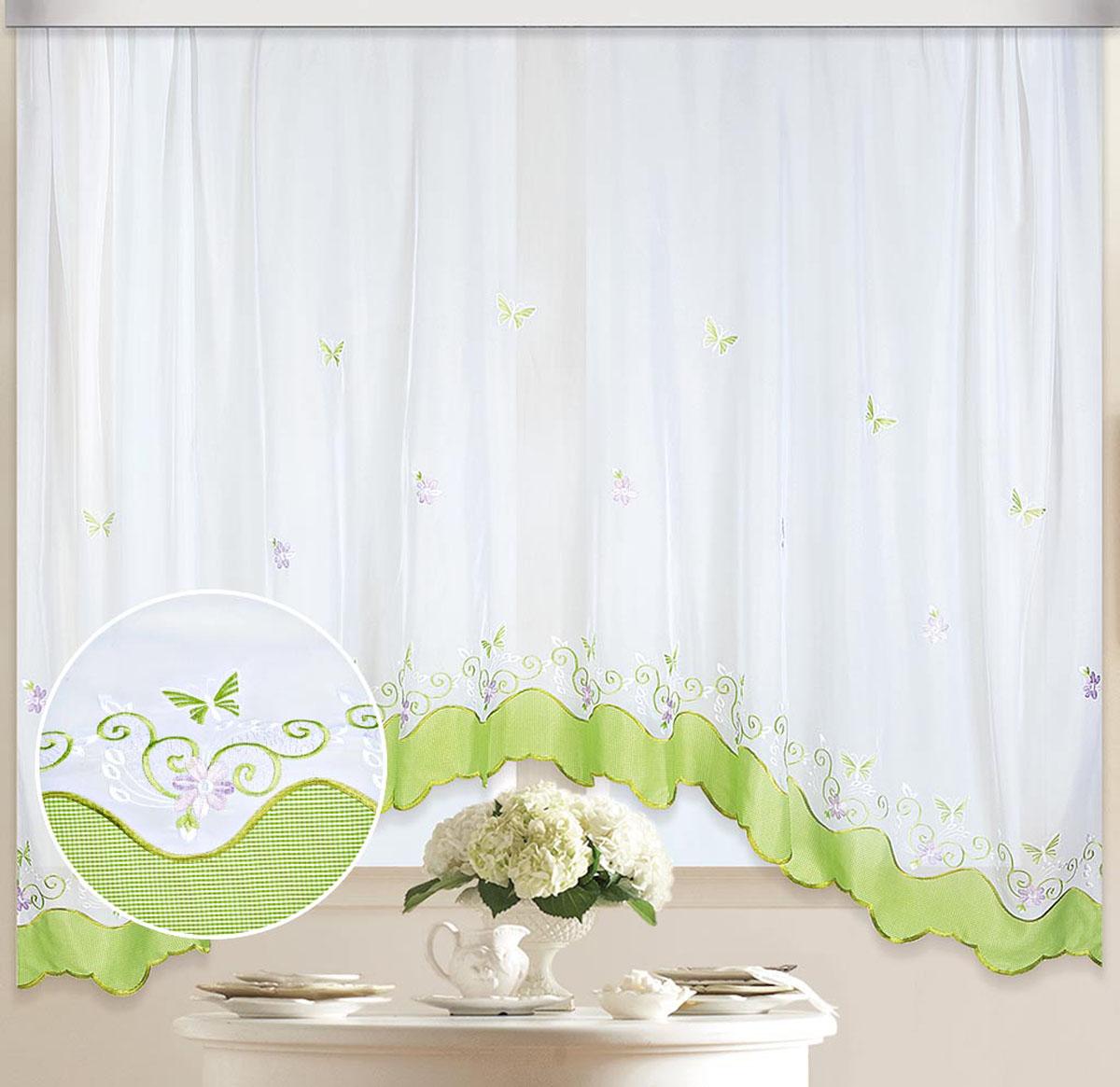 Штора Арка. Бабочка, на ленте, цвет: белый, салатовый, высота 170 см80117Вуалевое полотно с вышивкой. Стирка не более 30 градусов