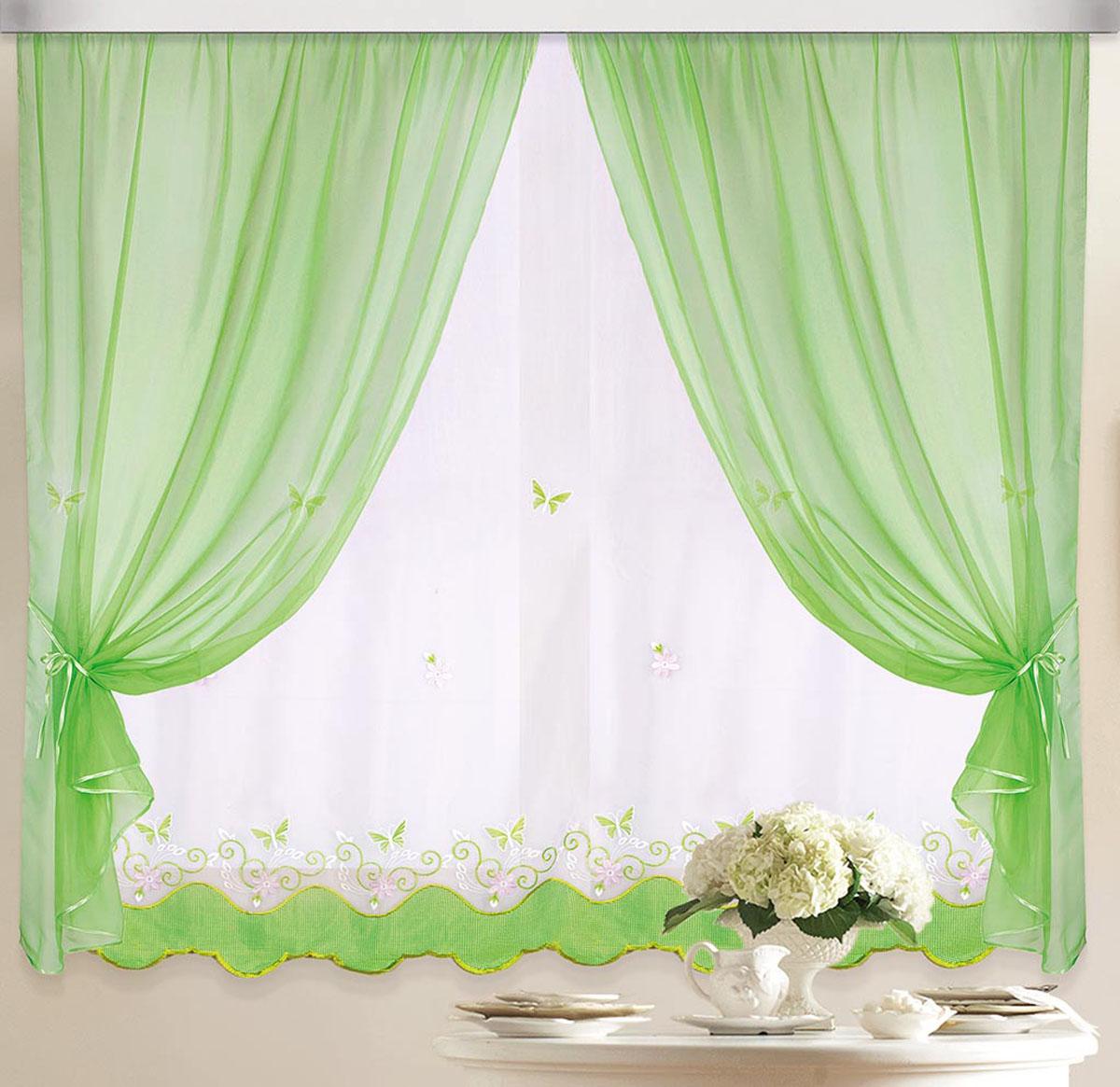Штора Бабочка, на ленте, цвет: белый, салатовый, высота 170 см80186Вуалевое полотно с вышивкой. Стирка не более 30 градусов