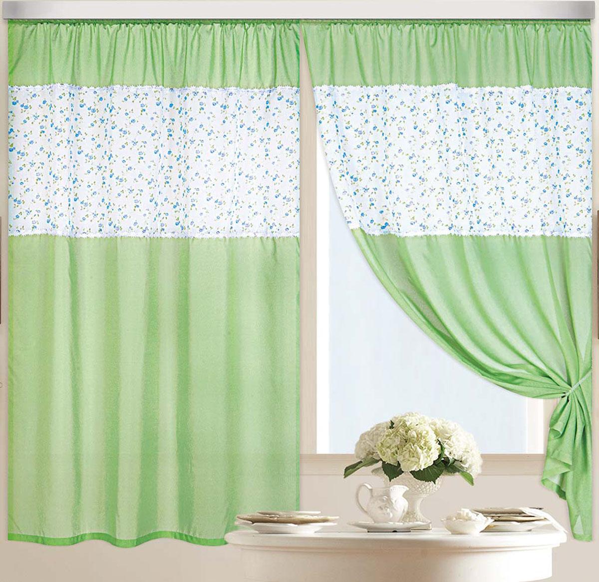 Штора Аромат лета, на ленте, цвет: зеленый, белый, синий, высота 180 см80975Легкая ткань под льняное полотно с кружевом в виде цветочков на швах. Стирка не более 30 градусов
