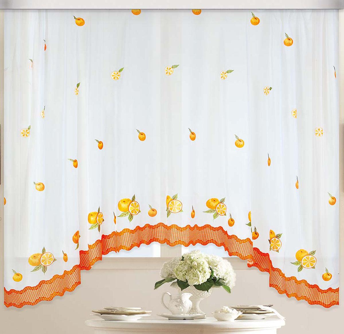 Штора Арка. Апельсин, на ленте, цвет: белый, оранжевый, высота 170 см80979Вуалевое полотно с вышивкой. Стирка не более 30 градусов