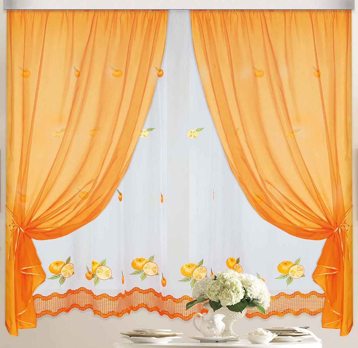 Штора Апельсин, на ленте, цвет: белый, оранжевый, высота 170 см81324Вуалевое полотно с вышивкой. Стирка не более 30 градусов