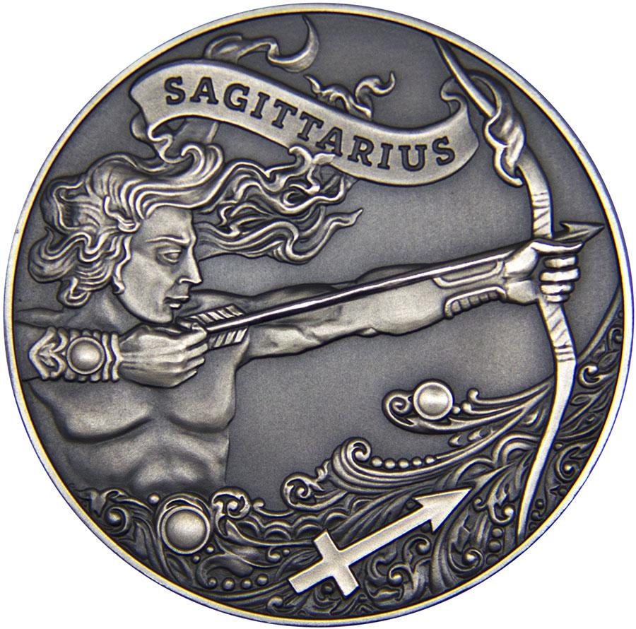 Монета номиналом 1 рубль Зодиакальный гороскоп. Стрелец. Беларусь, 2015 год791504Диаметр: 37 мм. Вес: 19,5 гр. Материал: медно-никелевый сплав (оксидирована). Тираж: 3333 шт. Сохранность: UNC