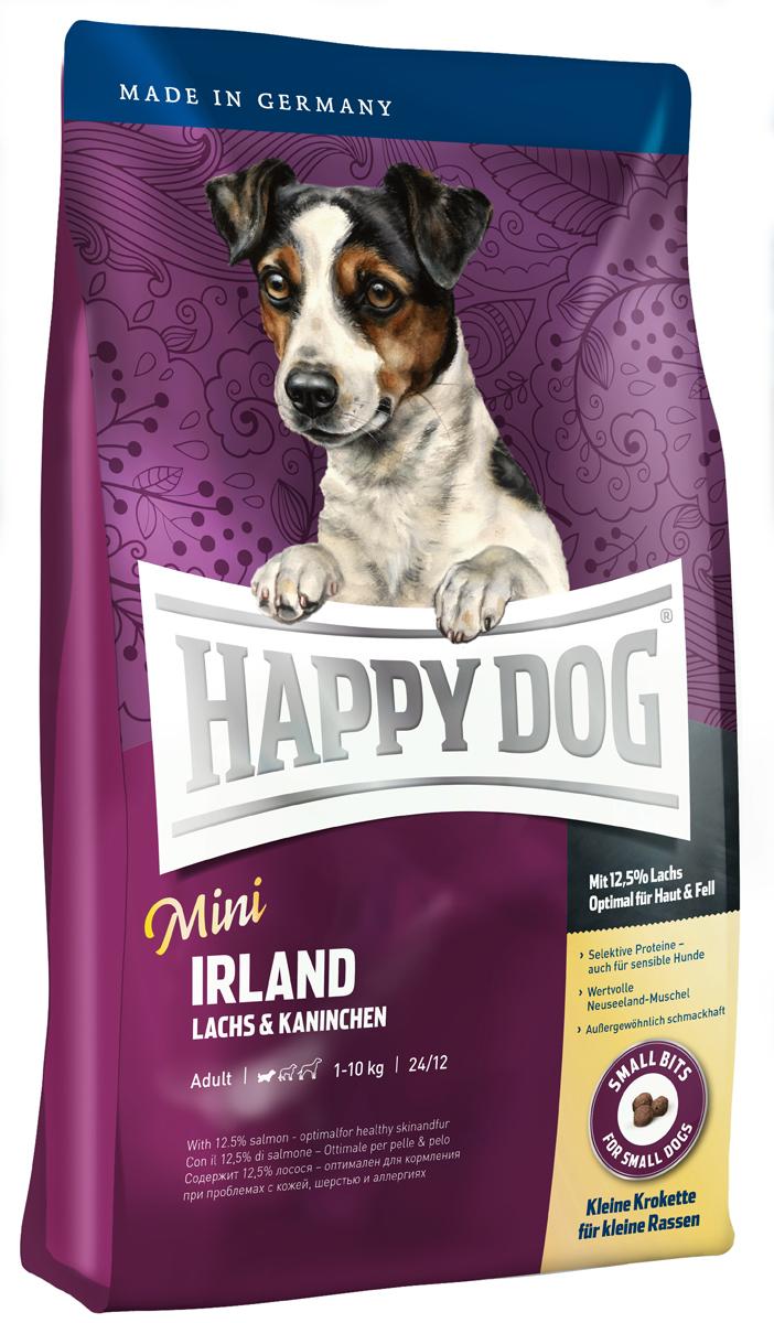 Happy Dog Mini Сухой корм для собак Ирландия Supreme Sensible, 4 кг60111Всем лакомкам маленького размера, которые любят нестандартный корм, очень чувствительны или разборчивы в еде, Happy Dog предлагает уникальную возможность: необыкновенно вкусный полнорационный корм класса супер-премиум Mini Irland, содержащий благородное мясо лосося и вкусную крольчатину. Благодаря тщательно отобранным компонентам (без белка из мяса ягненка и птицы, без риса, сои и пшеницы), особо бережной технологии приготовления и оптимизированному уровню белков и калорий корм Happy Dog Mini Irland отлично подходит также для целенаправленного кормления чувствительных собак мелких пород с их специфическими потребностями. Очень маленькие крокеты идеально соответствуют форме челюстей мелких собак. Эта эксклюзивная рецептура дополняется уникальной формулой Natural Life Concept с натуральными составляющими.