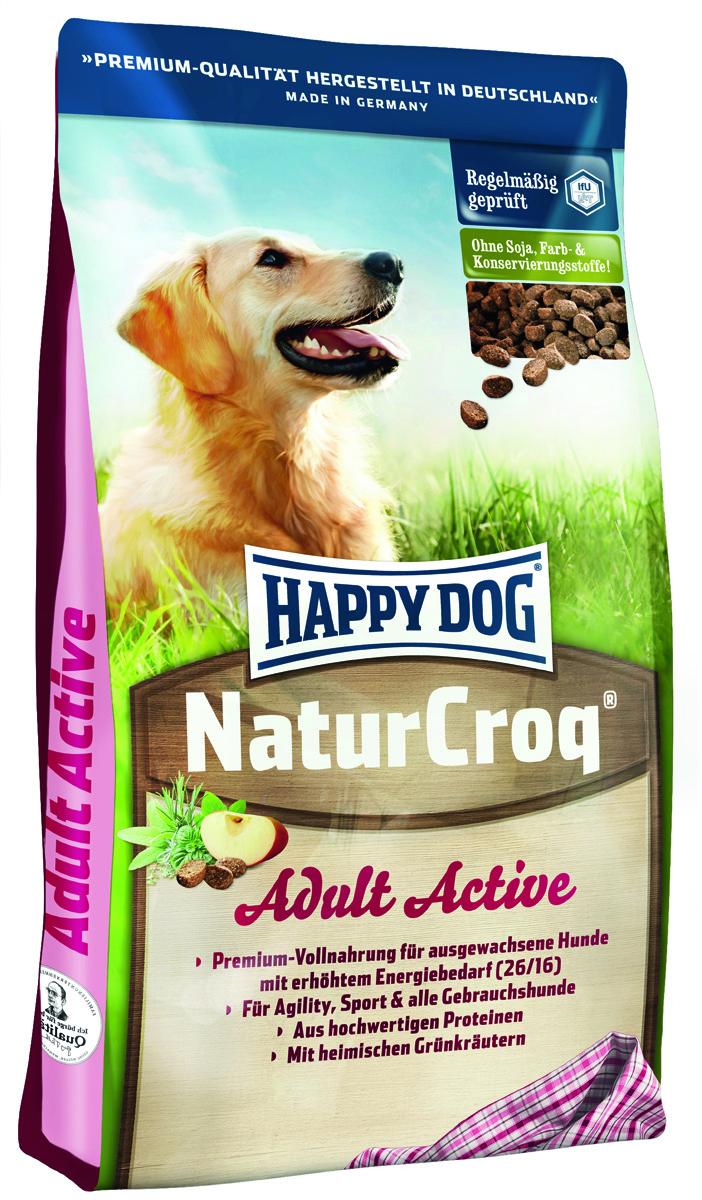 Happy Dog Сухой корм для активных собак NaturCroq Active (26/16), 15 кг2553Легко усваиваемый полнорационный корм класса премиум NaturCroq Актив оптимально подходит для всех взрослых собак с повышенной потребностью в энергии. Благодаря ценным Омега-3 и Омега-6-жир- ным кислотам из подсолнечного и рапсового масла NaturCroq Актив быстро обеспечивает энергией всех служебных собак, а также придает силы для активного движения и спорта, не создавая при этом нагрузки для организма. премиум-формула содержит все витамины и минераль- ные вещества, необходимые для сбалансированного питания Вашей собаки.