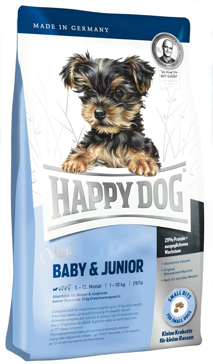 Корм сухой Happy Dog Mini Baby & Junior для щенков мелких пород, 4 кг3413Happy Dog Mini Baby & Junior - оптимально сбалансированный корм для щенков мелких пород. Корм объединяет высококачественные ингредиенты: мясо птицы, лосося, а также ценного новозеландского моллюска. Одобренная ветеринарными врачами рецептура содержит 29% белка. Этот сухой корм оптимально подходит для беспроблемного и щадящего кормления щенков и юниоров всех пород, в том числе чувствительных к кормам начиная с 4 недели жизни (вес взрослой собаки - до 10 кг). Состав: птица (26,5%), кукурузная мука, рисовая мука, птичий жир, лосось (5%), картофельный белок, картофель, клетчатка, свекольная пульпа, масло из семян подсолнечника, яблочная пульпа (0,6%), сухое цельное яйцо, рапсовое масло, хлорид натрия, дрожжи, хлорид калия, морские водоросли (0,15%), семя льна (0,15%), дрожжи (экстрагированные), расторопша, артишок, одуванчик, имбирь, березовый лист, крапива, ромашка, кориандр, розмарин, шалфей, корень солодки, тимьян, новозеландский моллюск...