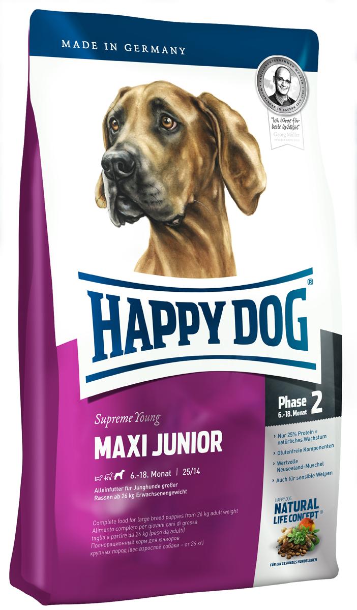 Корм сухой Happy Dog Junior для щенков крупных пород, с 6 до 18 месяцев, 15 кг3429Happy Dog Junior - полнорациональный корм для щенков крупных пород. Слишком быстрый рост - часто наблюдаемая проблема молодых собак крупных пород. Одобренная ветеринарными врачами рецептура корма со сниженным содержанием протеина - всего 25% предотвращает избыточное кормление юниоров во второй фазе роста. Корм содержит мясо птицы, лосося, а также ценного новозеландского моллюска. Этот сухой корм оптимально подходит для беспроблемного и щадящего кормления юниоров крупных пород (вес взрослой собаки 26 кг), в том числе чувствительных к кормам, с 6 месяца (после окончания смены зубов). Состав: птица (23%), кукурузная мука, кукуруза, рисовая мука, птичий жир, лосось (5%), картофель, клетчатка, свекольная пульпа, масло из семян подсолнечника, яблочная пульпа, сухое цельное яйцо, хлорид натрия, дрожжи, хлорид калия, рапсовое масло, морские водоросли (0,15%), льняное семя (0,15%), дрожжи (экстрагированные), расторопша, артишок, одуванчик,...