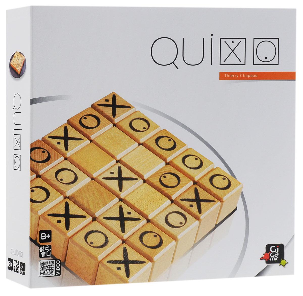 Gigamic Настольная игра QuixoУТ000000177Настольная игра Gigamic Quixo - это прекрасный способ времяпрепровождения, такое развлечение придется по душе, как взрослым, так и детям. Квиксо напоминает знакомые всем крестики-нолики, но на самом деле она гораздо интереснее. Цель игры - составить ряд из 5 своих символов. Все было бы просто, если бы кубики были неподвижны, но каждый ход игроки меняют расположение кубиков, сдвигая один из рядов. Так что, совершенно внезапно, вы можете оказаться на грани поражения! На соревнованиях можно установить ограничение на продолжительность одного хода. В комплект игры входят: игровое поле, 25 деревянных кубиков, мешочек для хранения и правила игры на русском языке. Средняя продолжительность игры составляет от 10 до 20 минут. Рекомендуемый возраст: от 8 лет.