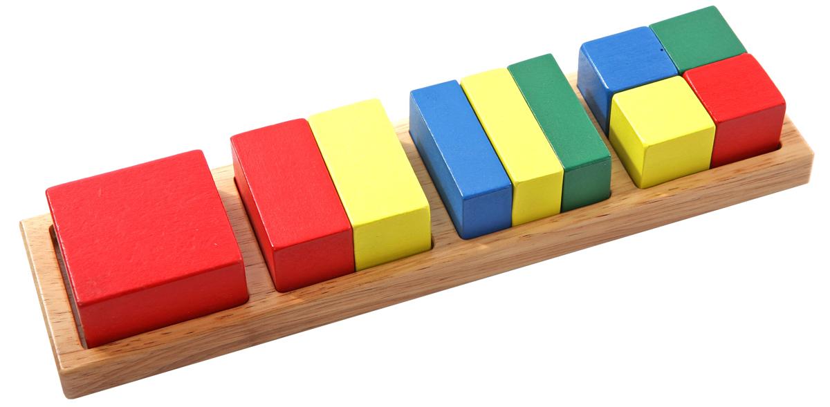 Развивающая игра Малые дробиД145Развивающая игра Малые дроби займет внимание вашего малыша надолго. Игра состоит из деревянного основания с углублениями для фигурок в форме квадратов и прямоугольников и 10 цветных фигурок, представляющих собой невысокие цилиндрики - целый и разделенные по сечению на равные части (половинки, трети, четвертинки). Играя в такую игру, ребенок познакомится с такой геометрической фигурой, как квадрат, получит первое представление о дробях. Игра способствует развитию цветовосприятия, мелкой моторики рук, воображения и логического мышления.