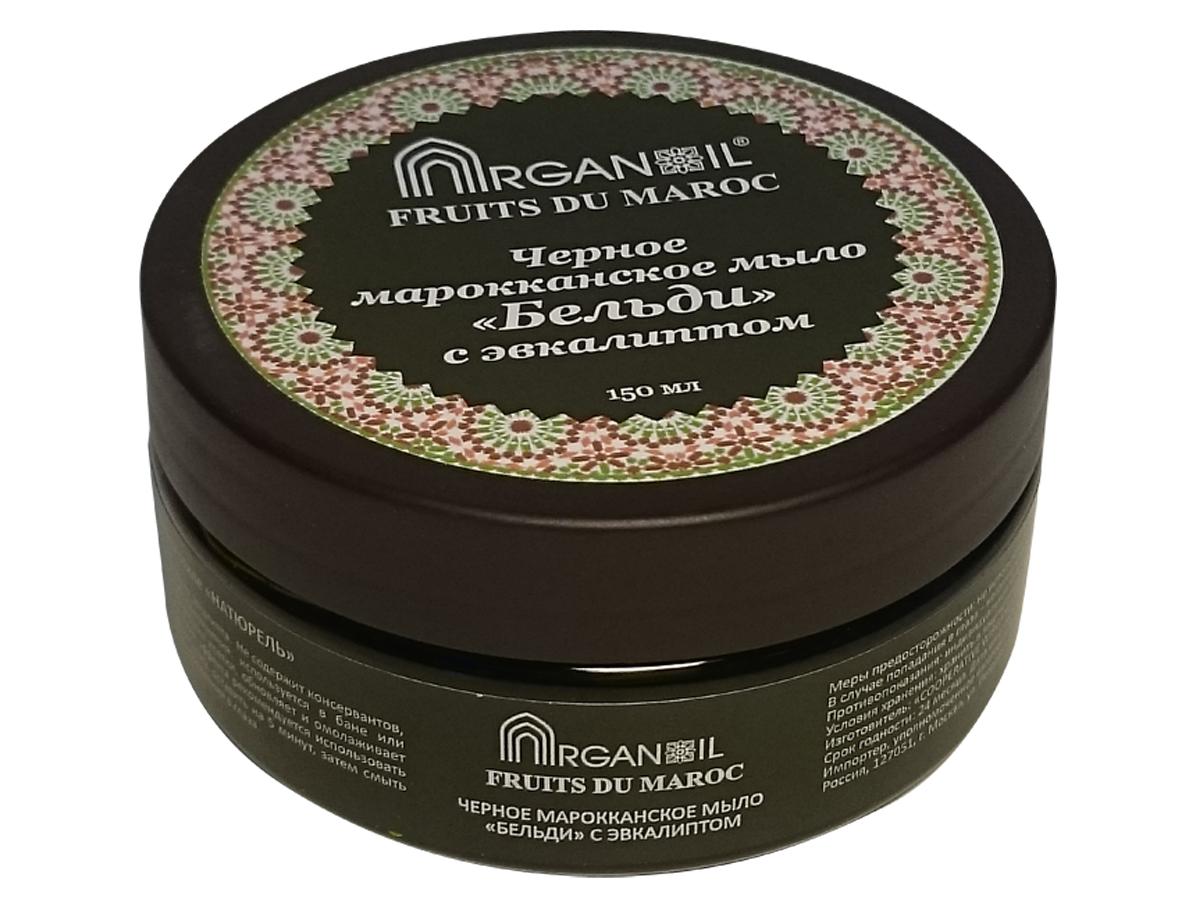 Дом Арганы Fruits du Maroc Мыло Бельди, черное марокканское, с эвкалиптом, 150 мл70339Традиционное марокканское мыло на основе оливкового масла (жмыха) и эфирного эвкалиптового масла. Используется в хаммаме или бане для очищения кожного покрова.
