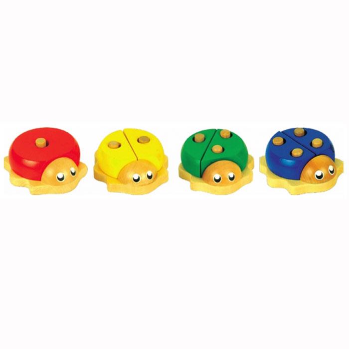 Развивающая игрушка Божьи коровкиД103Развивающая игрушка Божьи коровки состоит из четырех ярких разноцветных божьих коровок, изготовленных из экологически чистой древесины. Каждая божья коровка представляет собой мини-пирамидку, состоящую из 1 или 2 частей с разным количеством дырочек и с разным количеством штырьков на основаниях. Для того, чтобы ребенок смог собрать этих божьих коровок, он должен подобрать к штырькам детали с соответствующими отверстиями. Игра с этими пирамидками поможет развитию у ребенка внимания, усидчивости, логического мышления, моторики пальчиков.