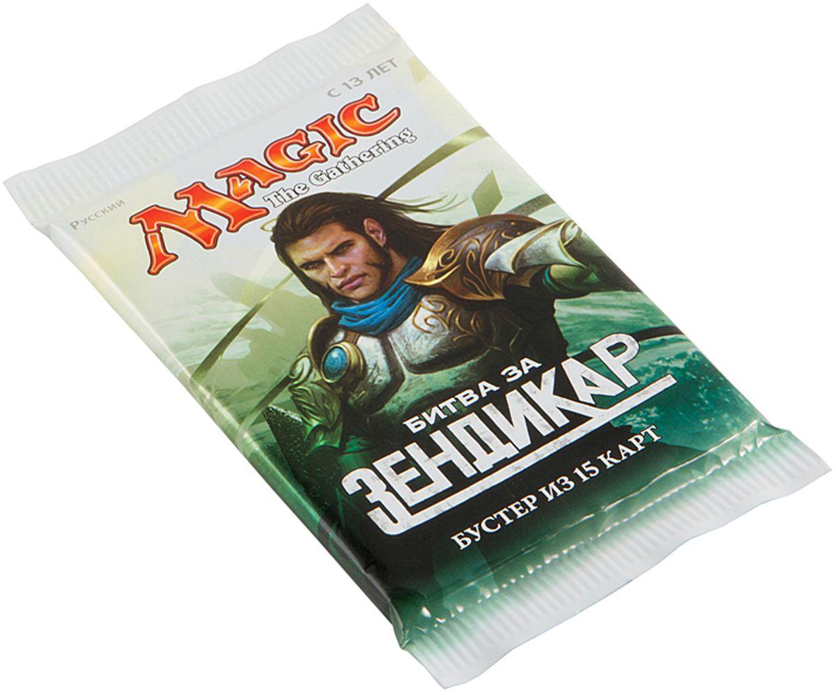 Magic: The Gathering Настольная игра Битва за Зендикар на русском языкеB27131210Каждый бустер включает в себя 15 случайных карт, из которых одна редкая или мифическая, 3 необычные и 11 обычных.