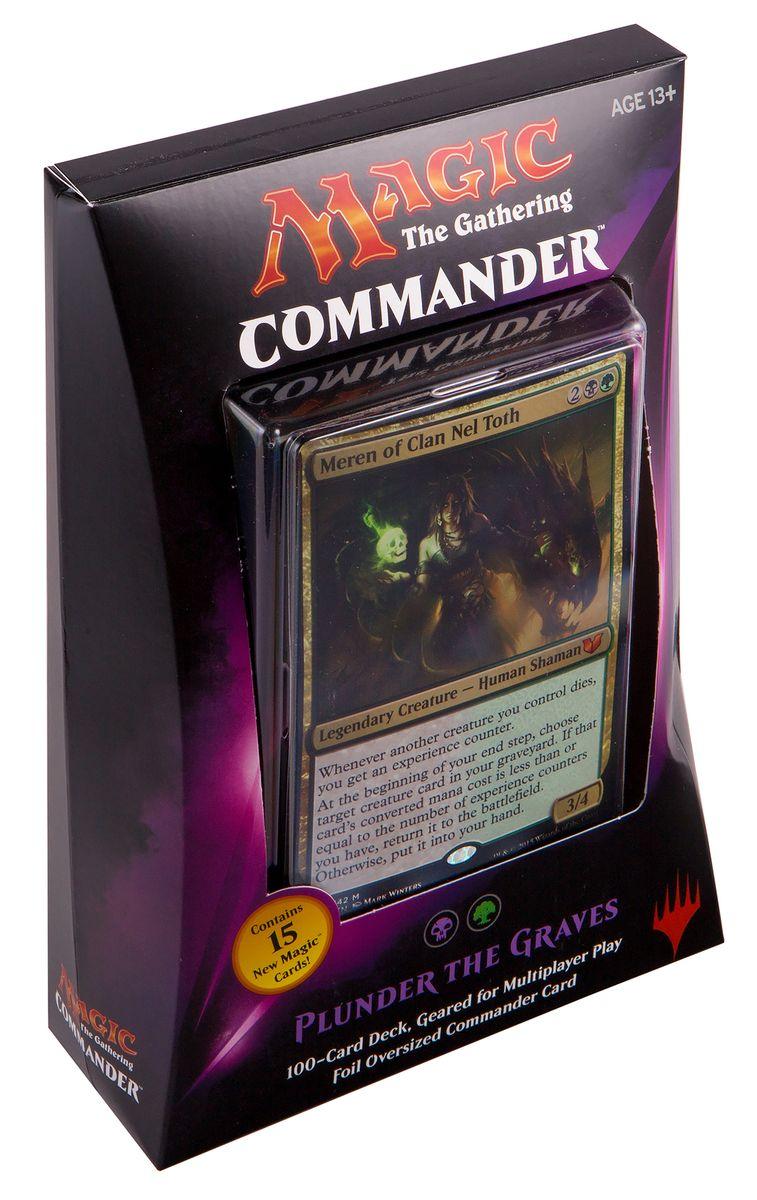 Magic: The Gathering Настольная игра Разграбление Могил (выпуск Commander 2015)B28720000/1Данный набор включает в себя: 100-карточную черно-зеленую колоду, полностью готовую для игры, 1 фольгированную карточку увеличенного размера, 10 двухсторонних фишек, а также коробочку для хранения колоды и краткую аннотацию к игре на английском языке.