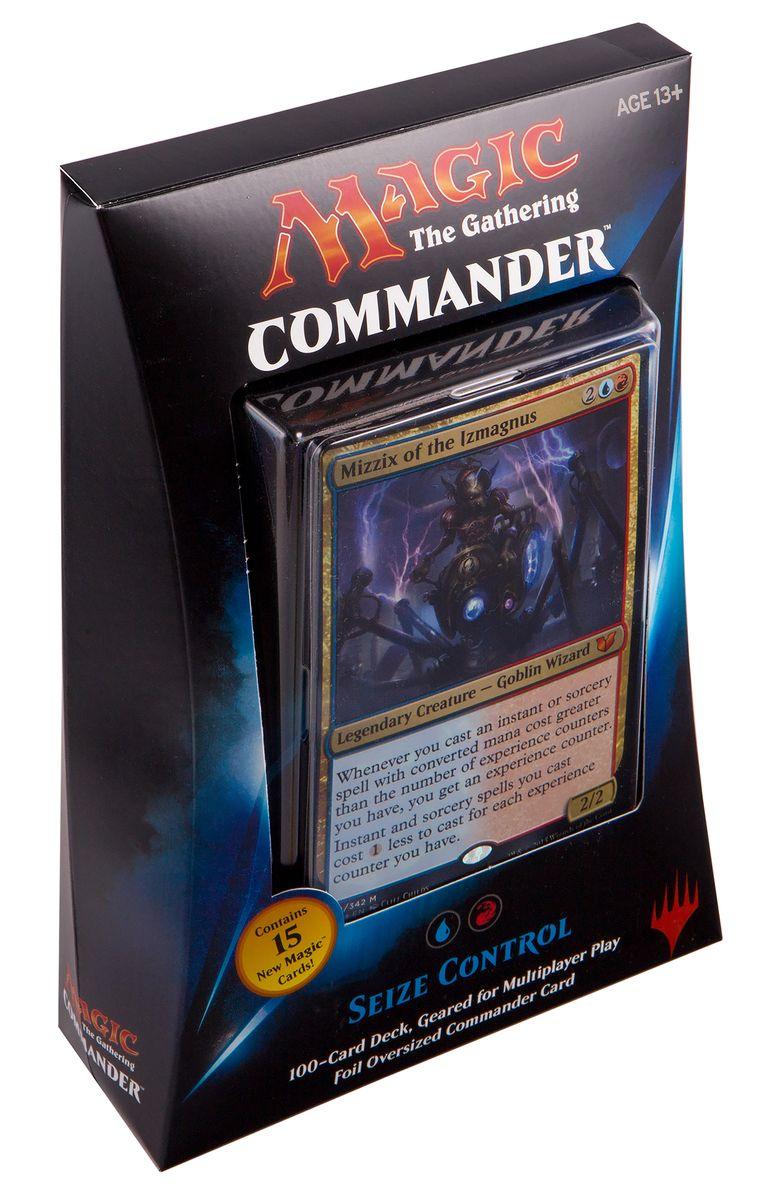 Magic: The Gathering Настольная игра Захватить Контроль (выпуск Commander 2015)B28720000/3Данный набор включает в себя: 100-карточную красно-синюю колоду, полностью готовую для игры, 1 фольгированную карточку увеличенного размера, 10 двухсторонних фишек, а также коробочку для хранения колоды и краткую аннотацию к игре на английском языке.