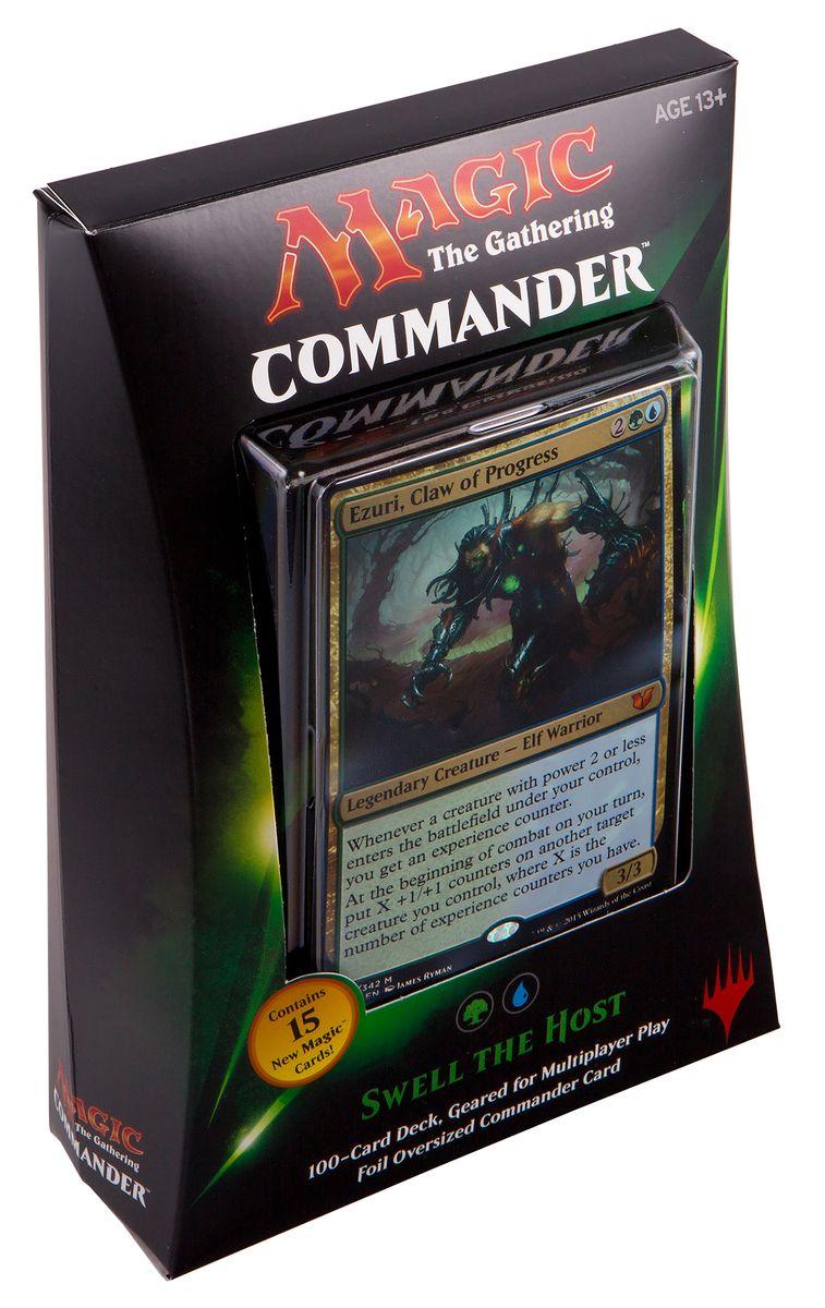 Magic: The Gathering Настольная игра Волнение Владельца (выпуск Commander 2015)B28720000/4Данный набор включает в себя: 100-карточную сине-зеленую колоду, полностью готовую для игры, 1 фольгированную карточку увеличенного размера, 10 двухсторонних фишек, а также коробочку для хранения колоды и краткую аннотацию к игре на английском языке.