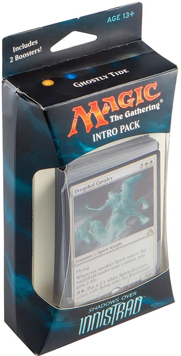 Magic: The Gathering Настольная игра Призрачная волна (издание Shadows over Innistrad)B62190001/1Набор включает в себя 60-карточную колоду черных карт, 2 15-карточных бустера издания Тени над Иннистрадом, а также руководство по правилам и вкладыш со стратегией игры колодой на английском языке