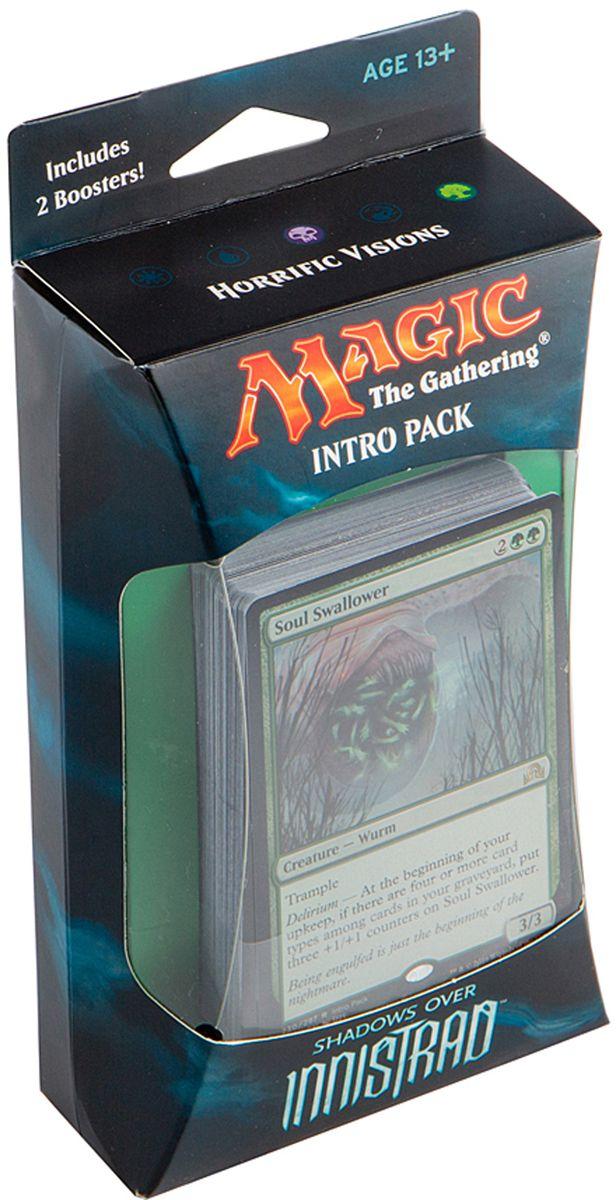 Magic: The Gathering Настольная игра Чудовищные видения (издание Shadows over Innistrad)B62190001/2Набор включает в себя 60-карточную колоду черных карт, 2 15-карточных бустера издания Тени над Иннистрадом, а также руководство по правилам и вкладыш со стратегией игры колодой на английском языке