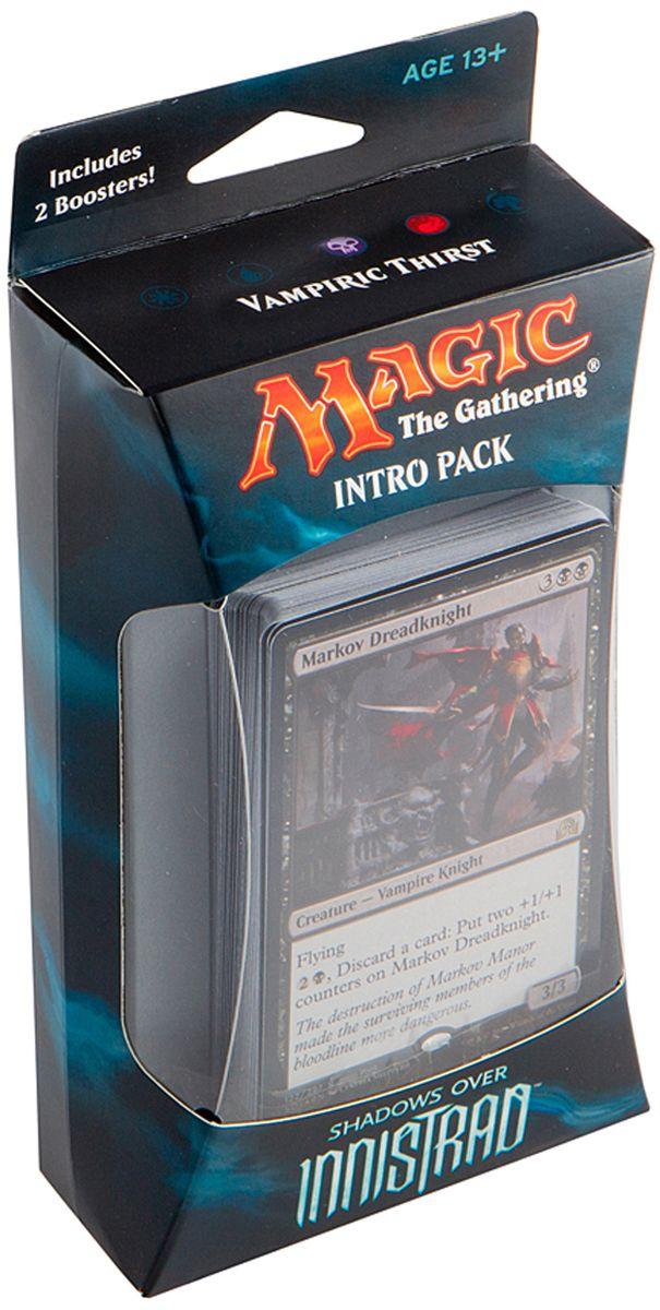 Magic: The Gathering Настольная игра Жажда вампира (издание Shadows over Innistrad)B62190001/4Набор включает в себя 60-карточную колоду черных карт, 2 15-карточных бустера издания Тени над Иннистрадом, а также руководство по правилам и вкладыш со стратегией игры колодой на английском языке