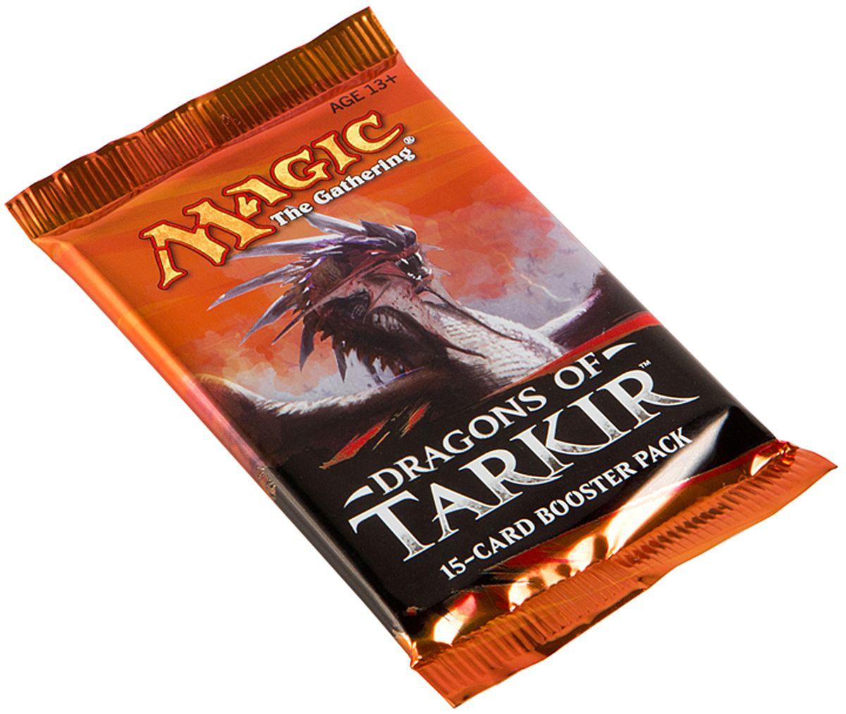 Magic: The Gathering Настольная игра Драконы ТаркираB19340001Каждый бустер включает в себя 15 случайных карт, из которых одна редкая или мифическая, 3 необычные и 11 обычных.
