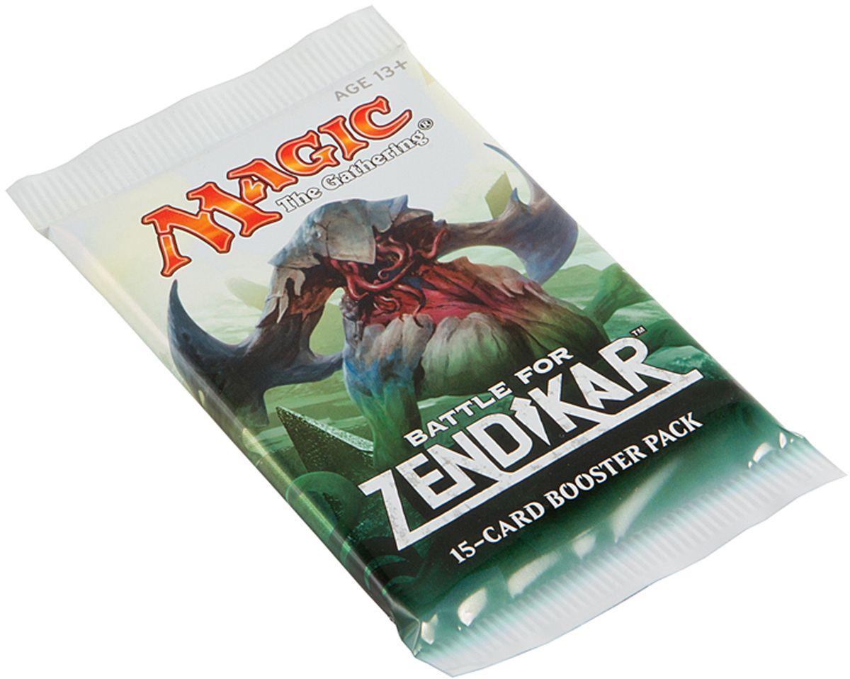 Magic: The Gathering Настольная игра Битва за ЗендикарB27130001Каждый бустер включает в себя 15 случайных карт, из которых одна редкая или мифическая, 3 необычные и 11 обычных.