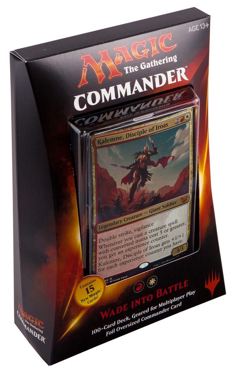 Magic: The Gathering Настольная игра Перейти к Битве (выпуск Commander 2015)B28720000/5Данный набор включает в себя: 100-карточную красно-белую колоду, полностью готовую для игры, 1 фольгированную карточку увеличенного размера, 10 двухсторонних фишек, а также коробочку для хранения колоды и краткую аннотацию к игре на английском языке.