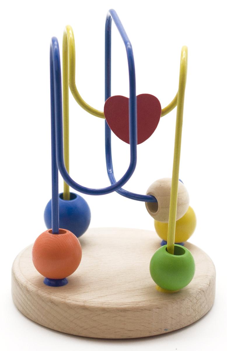 Развивающая игрушка ЛабиринтД194Яркий забавный лабиринт-серпантин привлечет внимание Вашего малыша и не позволит ему скучать. Игрушка состоит из круглой подставки, к которой крепятся две металлические проволоки. На каждую проволоку нанизаны маленькие деревянные элементы, которые можно передвигать по проволокам. Игрушка поможет развить логическое мышление, пространственное воображение и мелкую моторику. Игрушки из дерева пользуются большой популярностью в последнее время. И тому есть свои причины. Относительная дешевизна, экологичность и приятный внешний вид, которыми обладают игрушки из дерева, выделяют их на фоне игрушек из других материалов. Дерево - это теплый натуральный материал, который приятно трогать, поэтому играть в игрушки из дерева не только интересно, но и полезно.