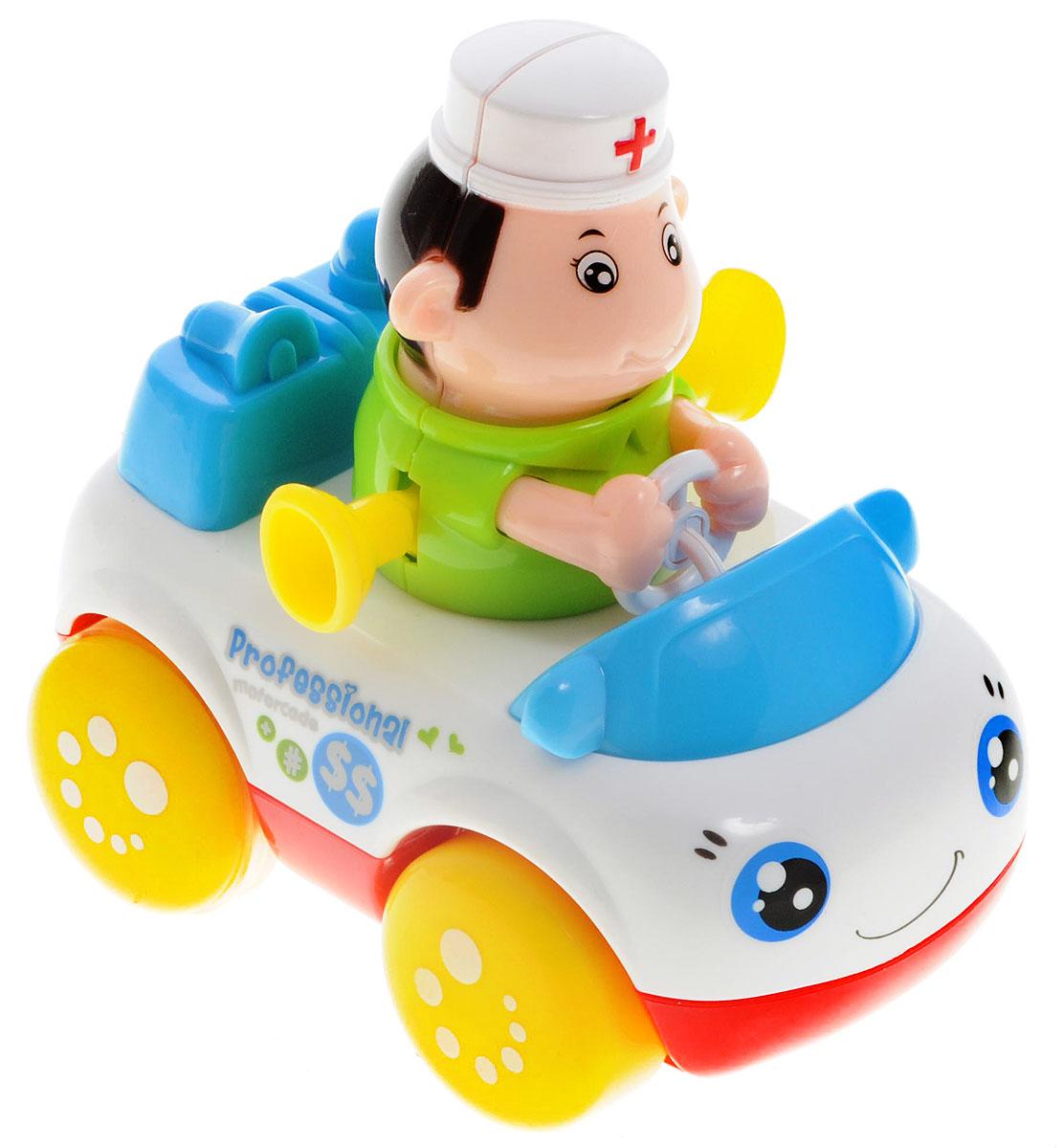Huile Toys Машинка инерционная Доктор356СЯркая машинка Huile Toys Доктор привлечет внимание вашего малыша и не позволит ему скучать! Выполненная из безопасного пластика с элементами из металла, игрушка представляет собой забавную машинку с водителем в виде доктора. Округлые, без острых углов, формы гарантируют безопасность даже самым маленьким. Игрушка оснащена инерционным механизмом. Для запуска установите игрушку на поверхность, подтолкните назад или вперед и отпустите, игрушка продолжит движение. Во время движения фигурка забавно качает головой и ножками. Игрушка поможет ребенку в развитии воображения, мелкой моторики рук и цветового восприятия. Сделайте вашему малышу такой замечательный подарок!