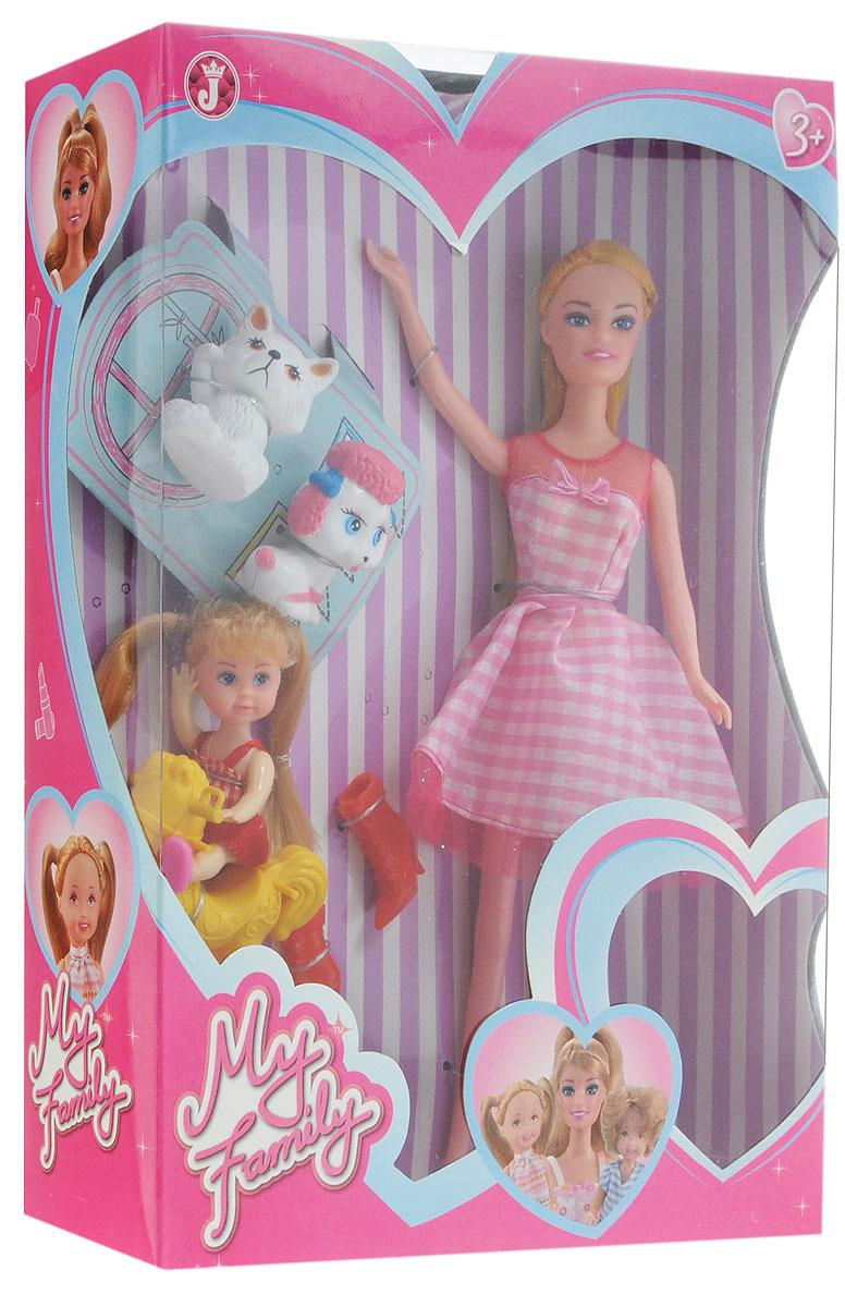 Win Goal Игровой набор с куклой Моя семья11078Великолепный игровой набор с куклой Win Goal Моя семья порадует вашу малышку и доставит ей много удовольствия от часов, посвященных игре с ним. Набор включает в себя очаровательную куклу с длинными волосами, красные сапожки, 2 фигурки собачек, качалку и милую девочку. Все элементы набора выполнены из качественных и безопасных материалов. Порадуйте свою малышку таким великолепным подарком!